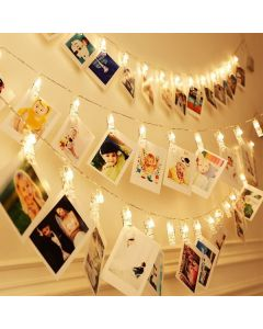 Hanging photos clips with led warm lighting