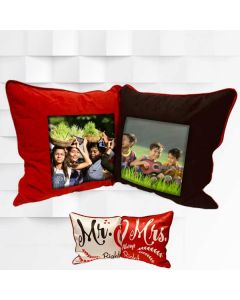 MR & MRS foldable Pillow with 2 sides photo print