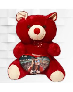 Customized teddy bear 16 inch height RED color  with heart shape customization